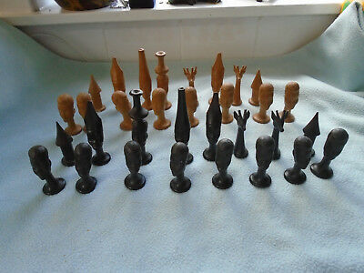 Vintage Carved Wood African Chess Set 32 pieces