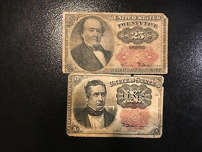 USA  (2 Notes) 10 and 25 Cents 1874
