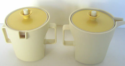 Tupperware Sugar Bowl Creamer Almond Harvest Gold Push Button Lids 1414 1415