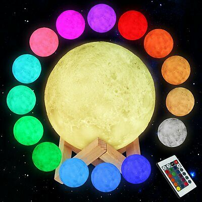 3D RGB LED Moon Table Night Light Decor USB Charging Rechargeable Lamp US Stock