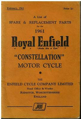 Royal Enfield Motorcycle Constellation Spare Parts Manual - 1961