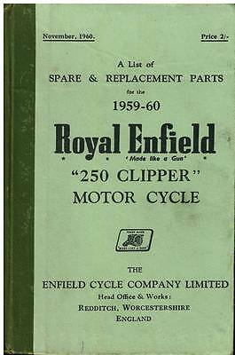Royal Enfield Motorcycle 250 Clipper Spare Parts Manual - 1959-60