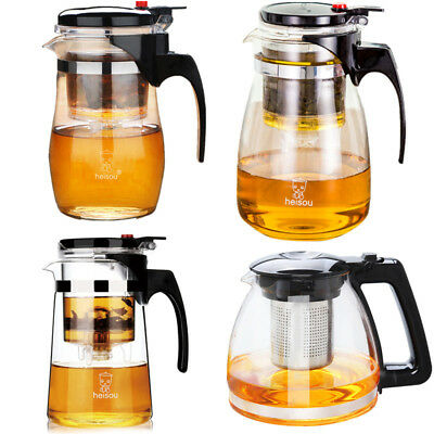 Heat Resistant Clear Glass Teapot With Infuser Coffee Tea Leaf Herbal Pot Jug