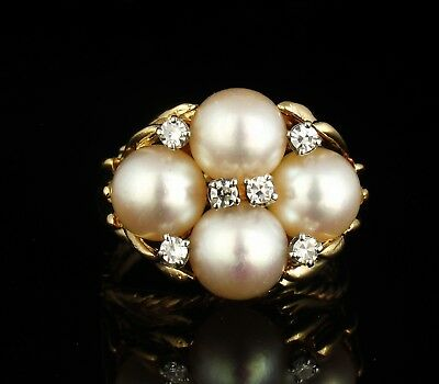 Vintage Estate Flawless 7.5Mm Akoya Pearl & Diamond Solid 14K Gold Cluster Ring