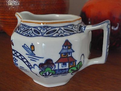 Vintage 1928 Woods Pottery 'Westover' Blue & White Creamer