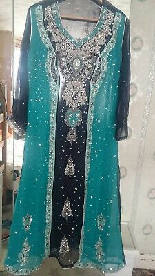 dark blue and green indian/pakistani wedding /party dress size 12_14