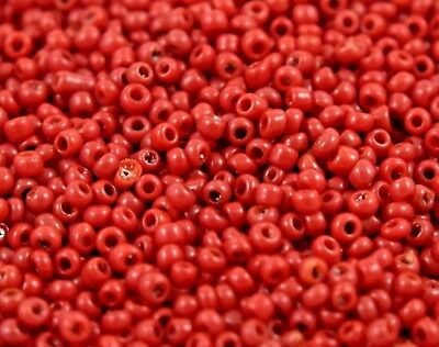 """Murano Italian Vtg Glass Seed Beads Size 12/0 """" Red Berry """" Loose 50 Grams"""