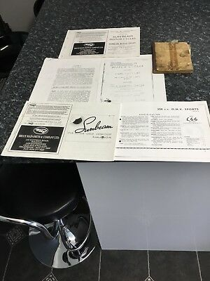 sunbeam motorcycle book, and   Catalogue/Manuels etc (All Models)