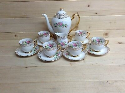 Roslyn Gilt and Roses 14 Piece Coffee Set