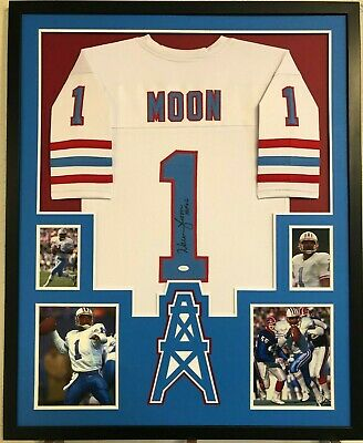 Framed Warren Moon Autographed Signed Inscribed Houston Oilers Jersey Jsa  Coa 3960f22d6