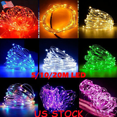 US 50/100/200 LED USB Micro Rice Wire Copper Fairy String Lights Party Decor