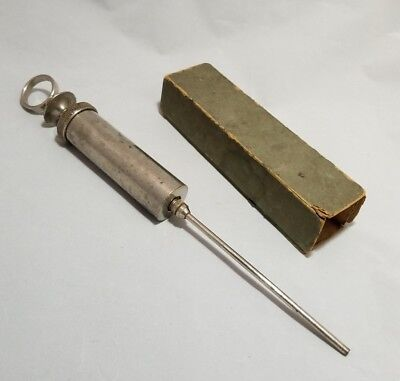 Antique Veterinary Syringe Stainless Steel Nickel Brass Chrome Medical Science