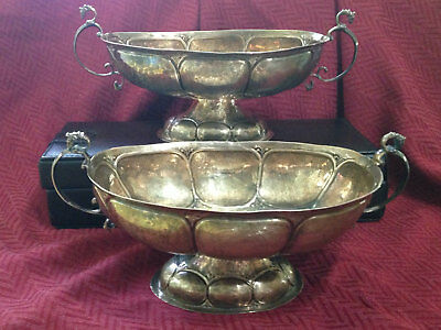 Pair of Antique Dutch Sterling Silver 19th century Groningen Brandy Candy Bowls
