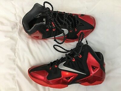 Nike Lebron 11 XI Blck Mt Slvr-University Red 616175 001 Miami Heat Away 0fa4dd267