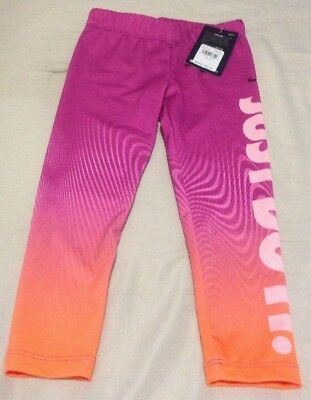 1e66afc9b8d0b Nike Toddler Girl's Ombre Dry-Fit Just Do It Legging's Size 5 Pink/Orange