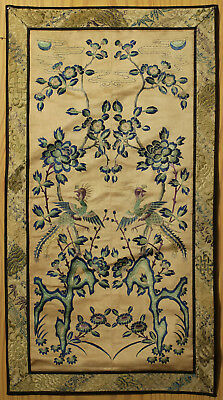 A BEAUTIFUL antique CHINESE SILK BROCADE EMBROIDERY BANNER PHOENIX REPUBLIC #2