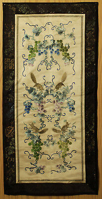 A BEAUTIFUL antique CHINESE SILK BROCADE EMBROIDERY BANNER SQUIRRELS REPUBLIC #3
