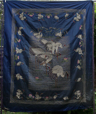 A BEAUTIFUL antique CHINESE SILK BROCADE EMBROIDERY CRANE BIRDS 19TH CENTURY