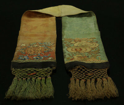 A BEAUTIFUL antique CHINESE SILK BROCADE EMBROIDERY STOLE 19TH CENTURY # 1