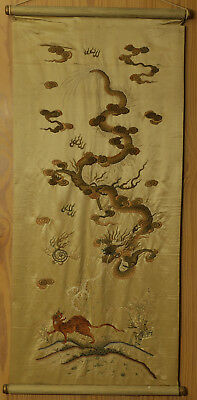 A HUGE BEAUTIFUL antique CHINESE SILK  EMBROIDERY BANNER DRAGON TIGER 19TH