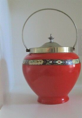 Rare 1930's Orange Newport Pottery, Burslem Biscuit Jar with silver-plated lid.