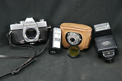 Lot Of Vintage Cameras, External Flashes, And Filters For Lenses