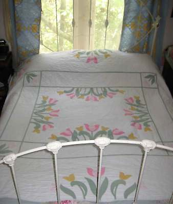 Vintage Applique TULIPS Quilt -  83 x 78 Inches  -  Hand-Appliqued and Quilted
