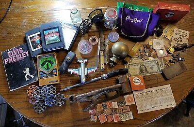 MANS VINTAGE junk drawer lot COINS, STAMPS,MARBLES, SILVER, BRASS, PAPER MONEY
