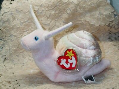 """TY Beanie Baby babies Swirly Snail 3-10-1999 mint with tags 6"""" Long Pink Cute"""