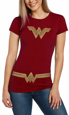 Women's Wonder Woman Halloween Costume T-Shirt Fitted - Red
