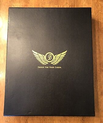 Custom Engraved Leather Black Leather Zippered Padfolio in gift box - New