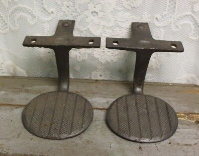 Pair Of Antique Primitive Cast Iron Horse Drawn Buggy / Wagon Steps