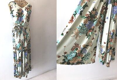 Vintage 1970s Alice of California Palazzo Jumpsuit size M Floral Sleeveless P12
