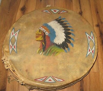 ANTIQUE 1900s NATIVE AMERICAN INDIAN HOLLOWED TREE BUCKSKIN HIDE DRUM RARE