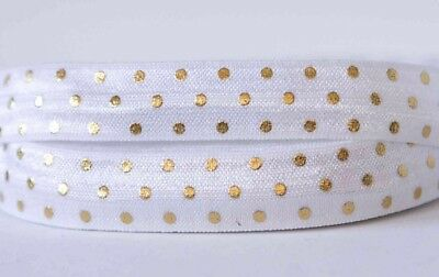 "1m X 5/8"" Foe Fold Over Elastic Ribbon Hair Bow Tie DIY Headband - Gold Dots"
