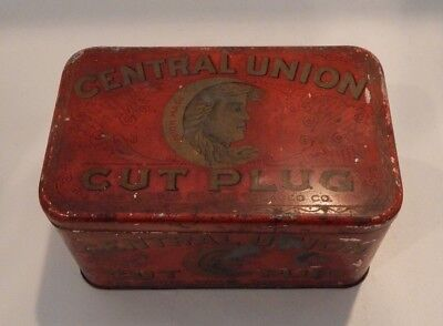 Vintage Central Union Cut Plug The US Tobacco Co. Tobacco Tin  #127