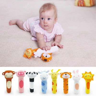 Durable Soft Animal Plush Sound Handbells Squeeze Rattle For Newborn Baby Toy