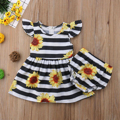 Infant Toddler Kids Baby Girls Floral Outfit Clothes Tops Dress Shorts Pants Set