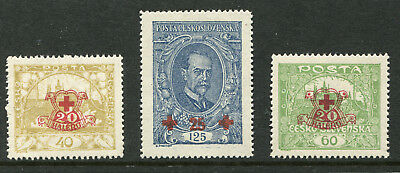 1920 Czechoslovakia.  Red Cross Fund.  Full set of 3 MUH.  SG 221/223.