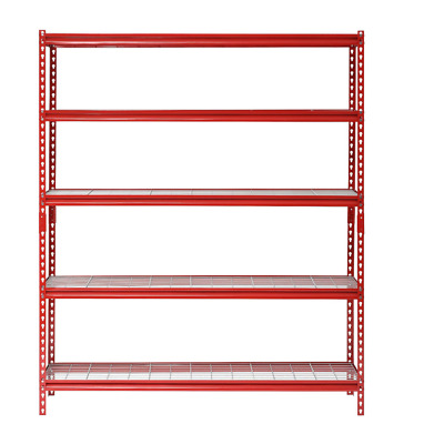 "Storage Shelving Garage Workshop Basement Heavy Duty 60""W Red Metal 5 Shelf Unit"