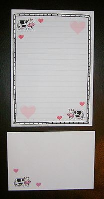 Cute Kawaii Cow with Pink Love Hearts Letter Writing Paper Stationery Set