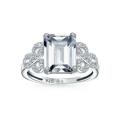 Sterling Silver CZ Celtic Knot Emerald Cut Solitaire Engagement Ring
