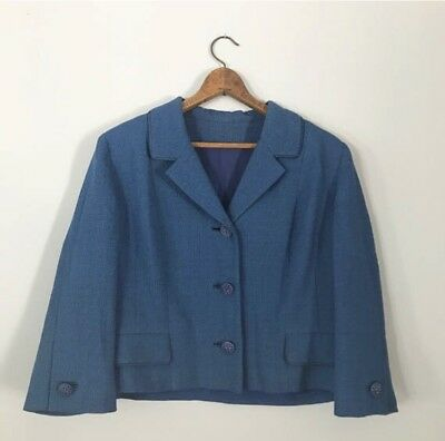 1950's Blue Bolero Blazer With Pressed Buttons Dressy Formal Jacket Top