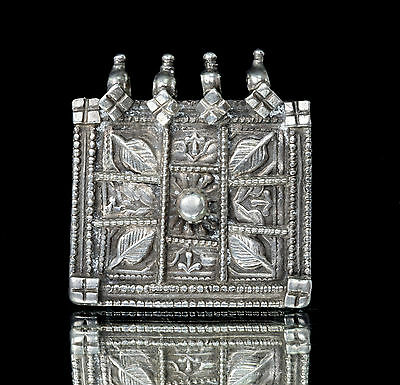 Indian Rare Vintage Square Shape Silver Pendant Antique Tribal Jewellery. G10-9