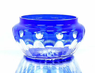 Rare Antique Old Cut Glass Beautiful Blue Color Collectible Bowl. G16-124