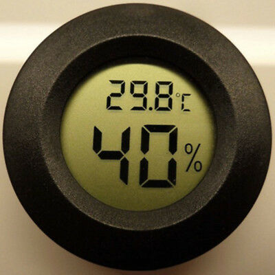 Round Digital Cigar Humidor LCD Temperature Hygrometer Thermometer Tool Black