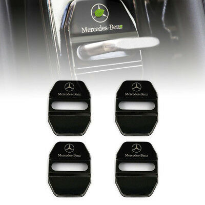 Black Stainless Steel Car Door Lock Ring Protective Cover For Mercedes Benz #U7