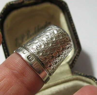 Vintage 1928 Birmingham Hallmarked Sterling Silver Thimble by H C & S - Size 16