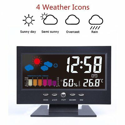 New LCD Digital LED Projection Weather Station Calendar Lound Snooze Alarm Clock
