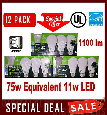 12 LED Light Bulbs GREENLITE 75w Equivalent 11w Bright White 3000K A19 Dimmable